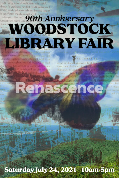 a poster with blue sky, clouds and a large, multi-colored butterfly in the middle.