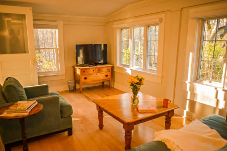 Beige living room with hardwood floors, lots of windows, teal upholstered furniture, pine furniture and flat screen tv.