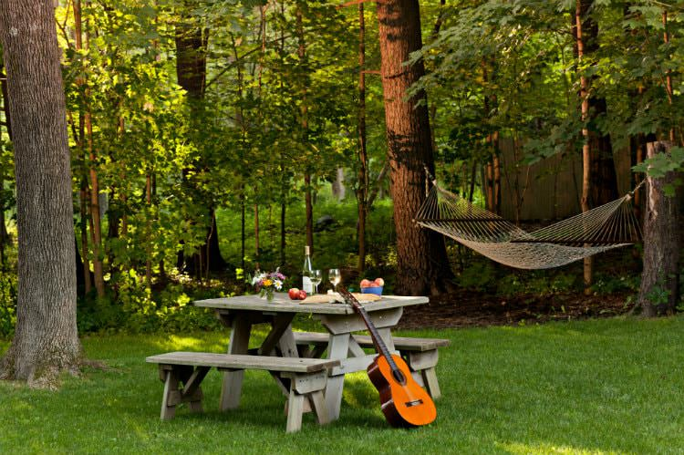 Acoustic guitar propped against picnic table set with fresh wildflowers, apples and wine surrounded by lush green grass and woods