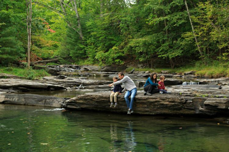 A father, mother and their two boys on a small rocky ledge overlooking the stream surrounded by green woods