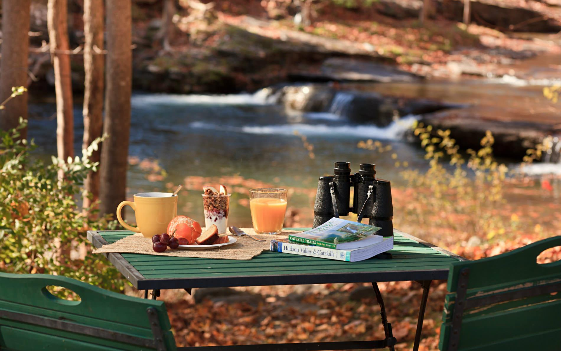 Green table topped with a mug, yogurt and granola, glass of juice, fresh fruit, binoculars, in front of rippling stream