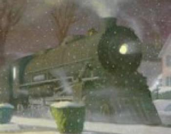 Hazy view of train at dusk surrounded by snow covered ground and snow flurries with bare trees in background