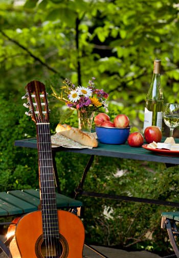 Acoustic guitar propped against a green table covered with white wine, fresh flowers, fresh bread and red apples